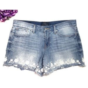 LUCKY BRAND Embroidered Flower Cut Off Jean Shorts